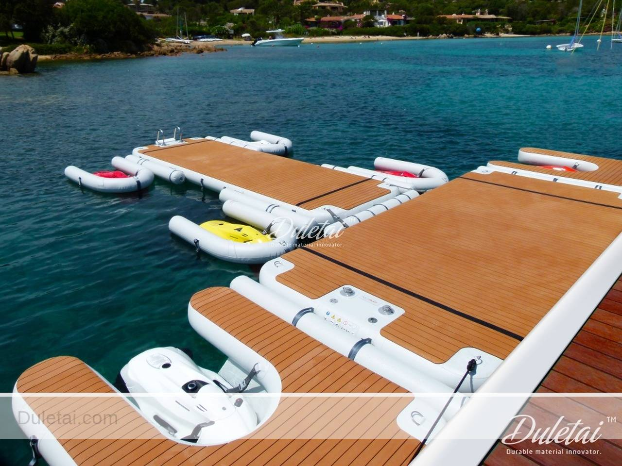 Inflatable docks made of drop stitch fabric water platform