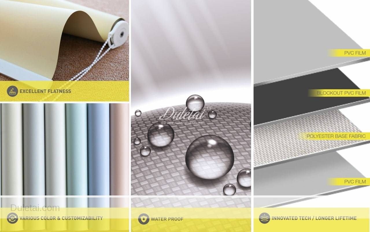 Vinyl roller shades fabric for window shade and sunlight control